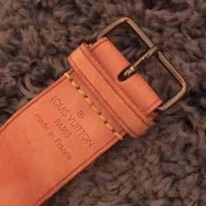 Auth Louis Vuitton Vachetta Leather Luggage Strap
